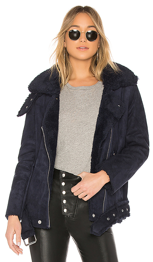 J.O.A. Faux Shearling Biker Jacket in Navy. - size S (also in XS,M,L)