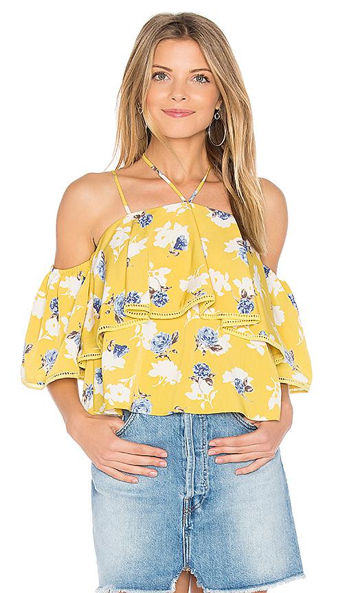 J.O.A. Flower Print Cold Shoulder Top in Mustard