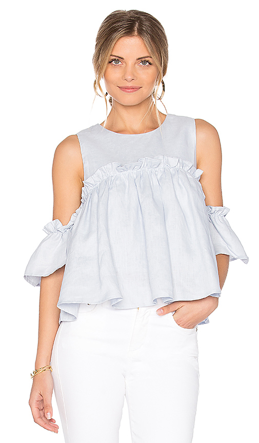 J.O.A. Layered Ruffle Cold Shoulder Top in Blue