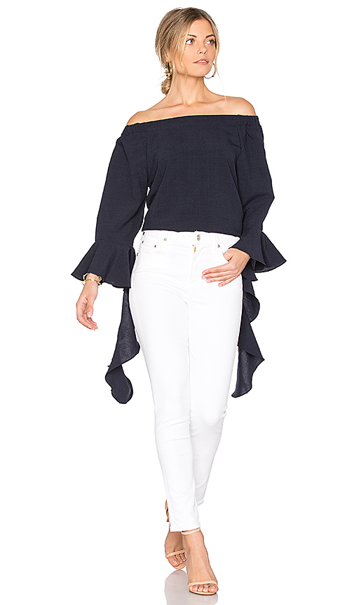 JOA Off The Shoulder Flare Sleeve Top in Blue