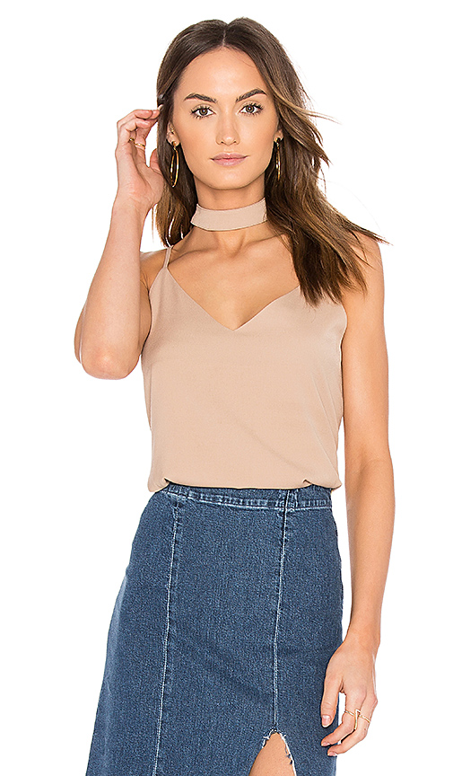 J.O.A. Neck Band Strappy Cami in Beige