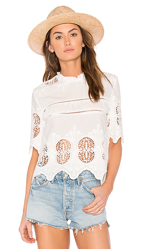 JOA Scalloped Lace Mix Top in White
