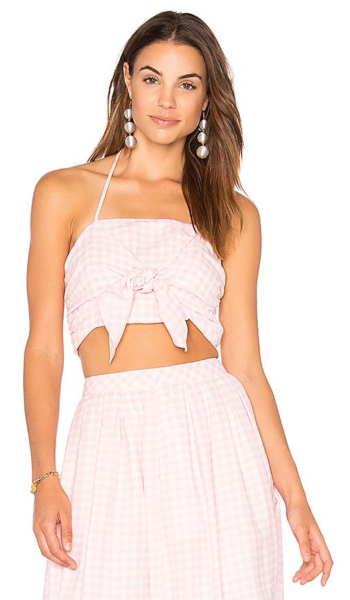 JOA Gingham Bra Top in Pink