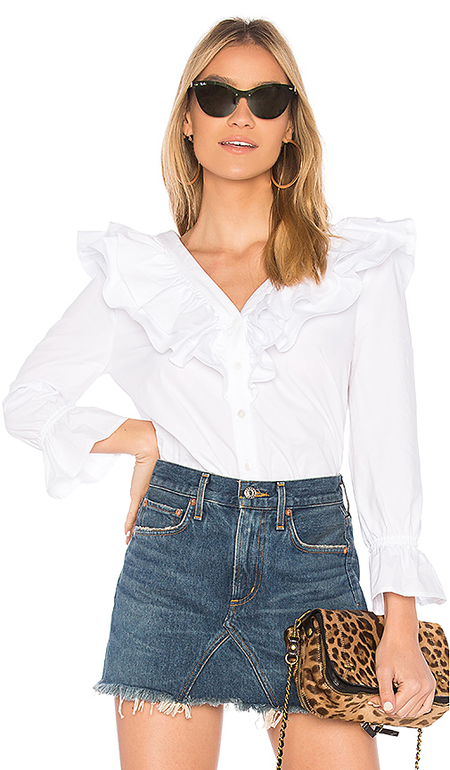JOA Button Up Ruffle Top in White