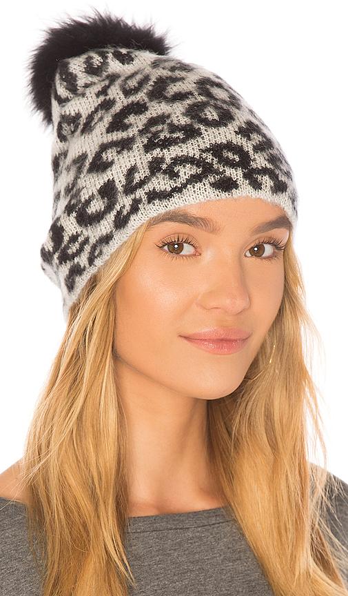 jocelyn Knit Hat With Fox Pom in Black