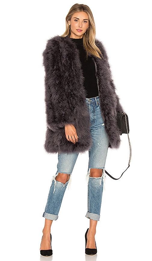 Shop jocelyn Collarless Feather Coat in Charcoal online jackets