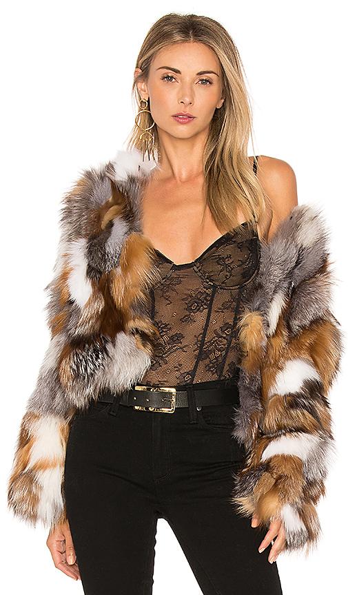 jocelyn Fox Fur Sections Jacket in Tan