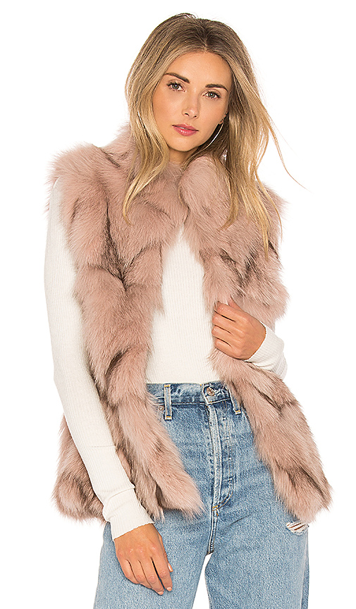 jocelyn Fox Fur Sections Vest With Collar in Blush