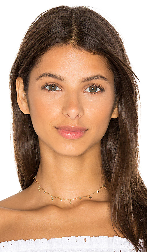 joolz by Martha Calvo Cross Dangle Choker in Metallic Gold