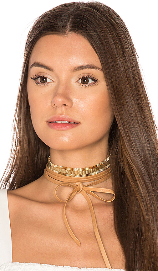 joolz by Martha Calvo Mesh Leather Wrap Choker in Tan