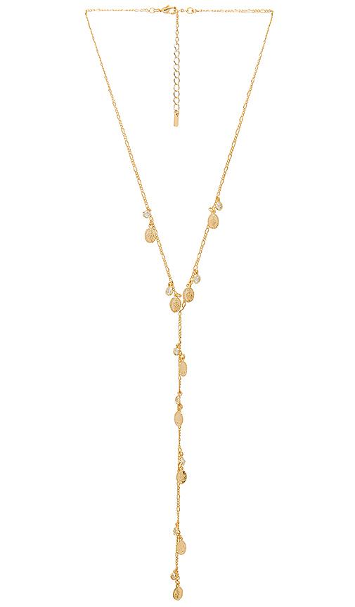joolz by Martha Calvo Saint Medallion Bezel Lariat Necklace in Metallic Gold