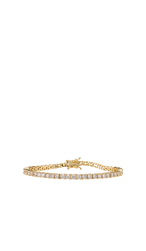 joolz by Martha Calvo Clear Tennis Bracelet in Metallic Gold.