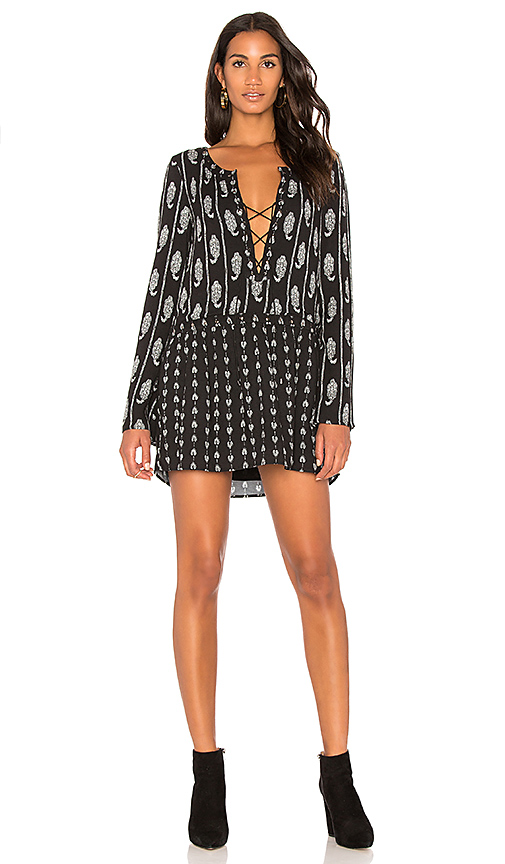 THE JETSET DIARIES Lace Up Mini Dress in Black