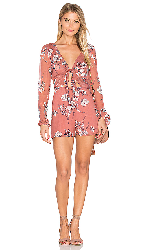 THE JETSET DIARIES Oasis Floral Romper in Coral. - size L (also in M,S)