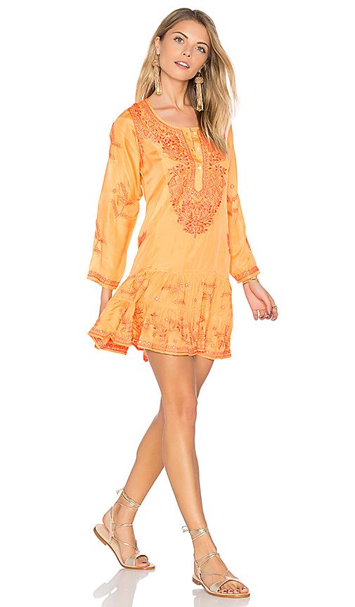 juliet dunn Silk Long Sleeve Beach Dress in Orange. - size 1/S (also in 2/M,3/L)