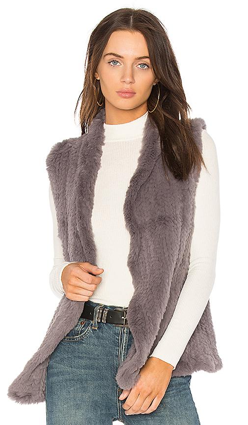 June Classic Rabbit Fur Shawl Vest in Lavender