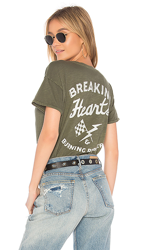 Junk Food Breaking Hearts & Burning Rubber Tee in Olive