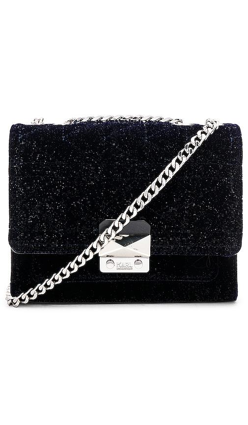 KARL X KAIA Velvet Handbag in Navy.