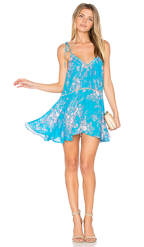Karina Grimaldi Verano Print Mini Dress in Blue