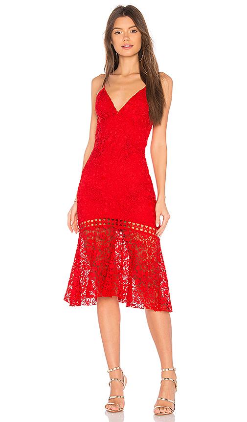 Karina Grimaldi Diana Lace Dress in Red