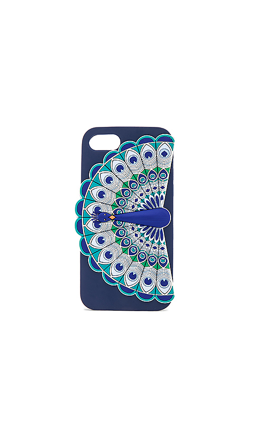 kate spade new york Silicone Peacock iPhone 7 Case in Navy