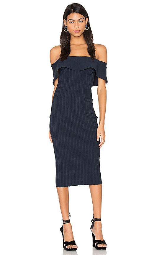 KENDALL + KYLIE Ruffle Midi Dress in Navy. - size L (also in M,S,XS)