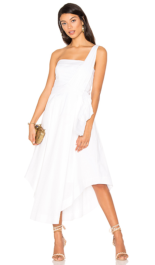 KENDALL + KYLIE One Shoulder Midi Dress in White