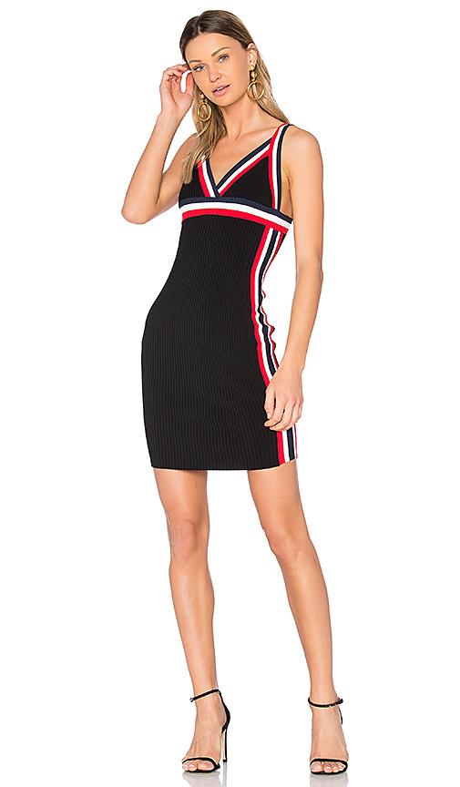 KENDALL + KYLIE Rainbow Trim Dress in Black