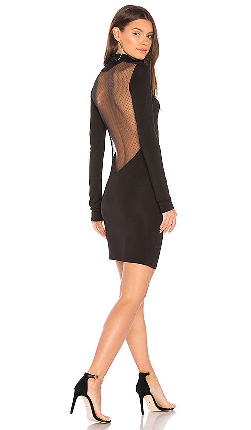 KENDALL + KYLIE Mesh Open Back Dress in Black