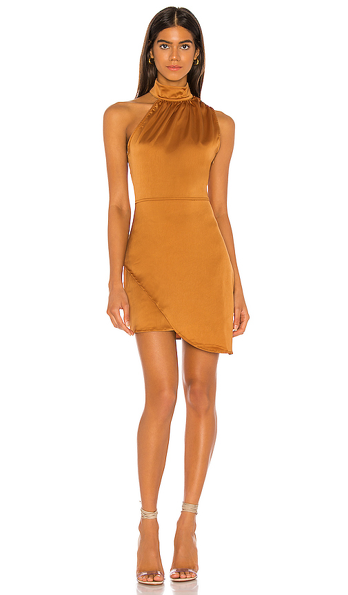 Kendall + Kylie Satin Dress In Burnt Orange. In Butterscotch