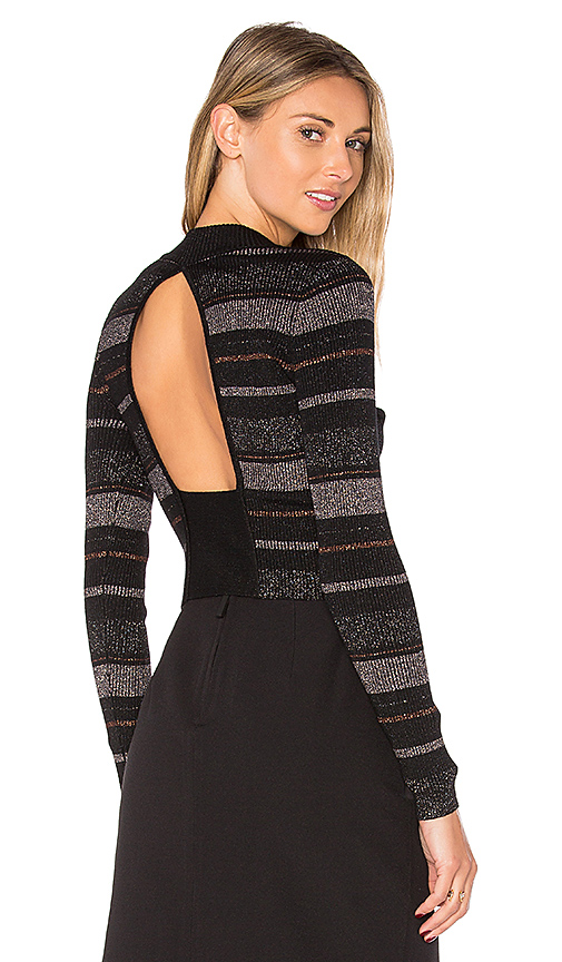 KENDALL + KYLIE Lurex Stripe Long Sleeve Sweater in Black. - size M (also in S)