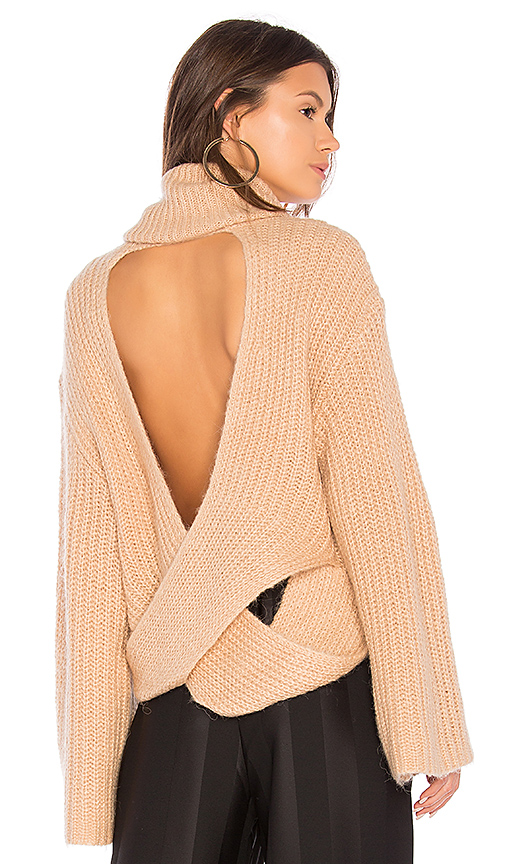 KENDALL + KYLIE Cross Back Turtleneck Sweater in Tan. - size L (also in M,S,XS)