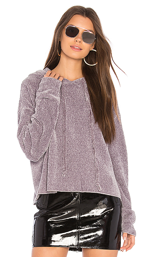 KENDALL + KYLIE Cropped Hoodie in Gray. - size L (also in M,S,XS)