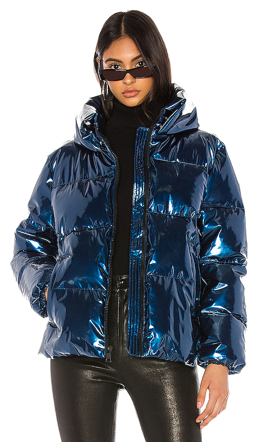 Kendall + Kylie Metallic Puffer Jacket In Blue.