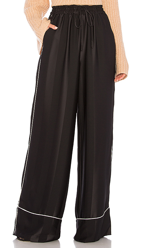 KENDALL + KYLIE Broken Stripe Wide Leg Pant in Black. - size L (also in M,S,XS)