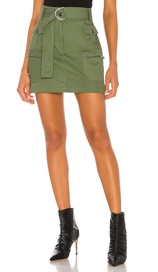 Kendall + Kylie Farrah Twill Skirt In Kylie Green