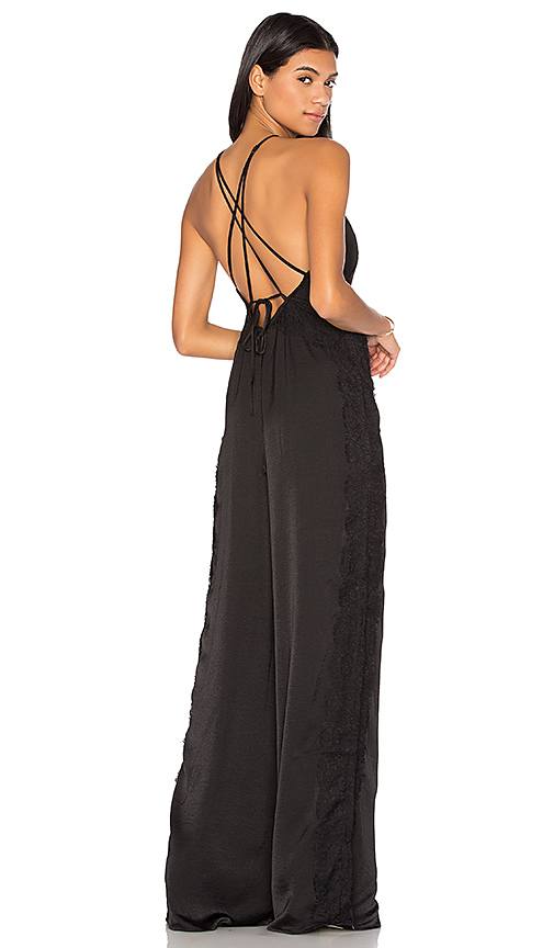 KENDALL + KYLIE Lace Contrast Jumpsuit in Black. - size M (also in L,S,XS)