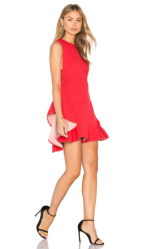 KENDALL + KYLIE Flutter Lace Up Romper in Red. - size M (also in S,XS)