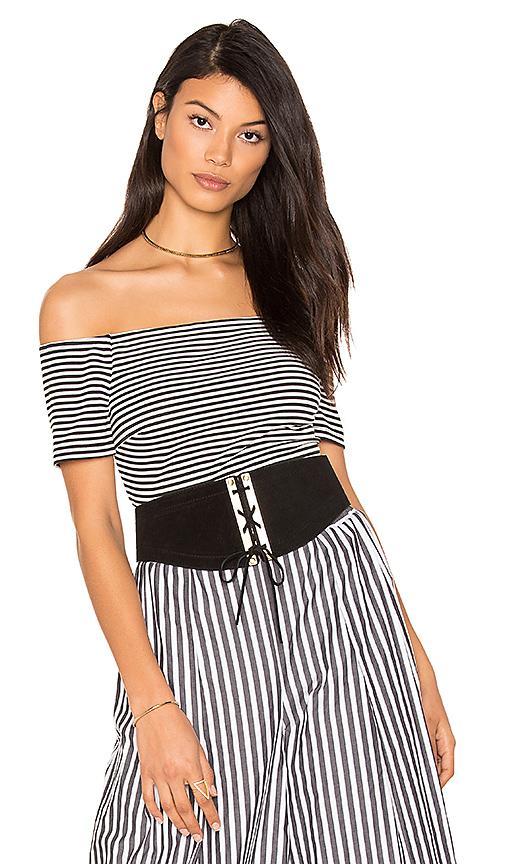 KENDALL + KYLIE Striped Bodysuit in Black & White