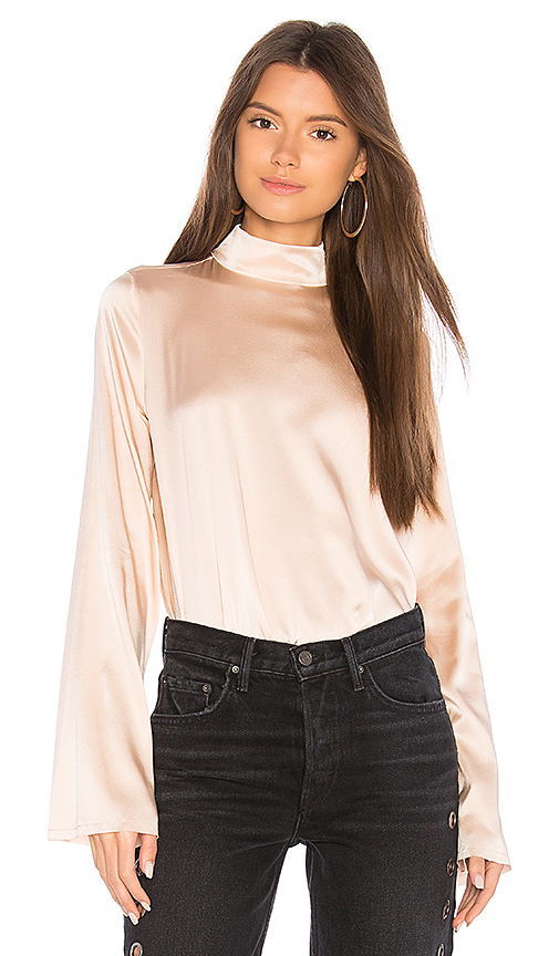 KENDALL + KYLIE Silk Oversized Mock Neck Blouse in Blush. - size L (also in M,S,XS)