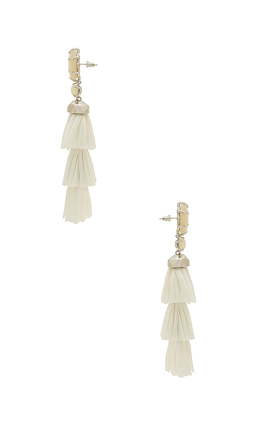Kendra Scott Denise Earrings in Metallic Silver.