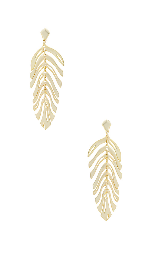 Kendra Scott Lotus Earrings in Metallic Gold.