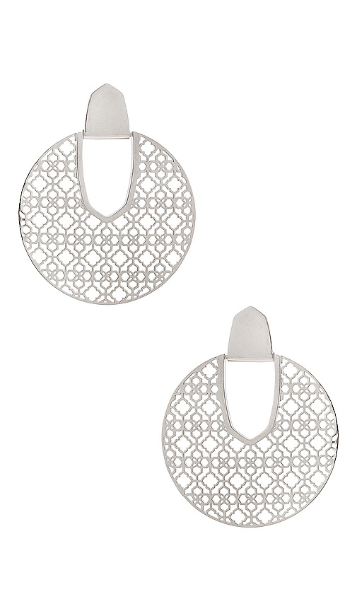 Kendra Scott Diane Earrings in Metallic Silver.