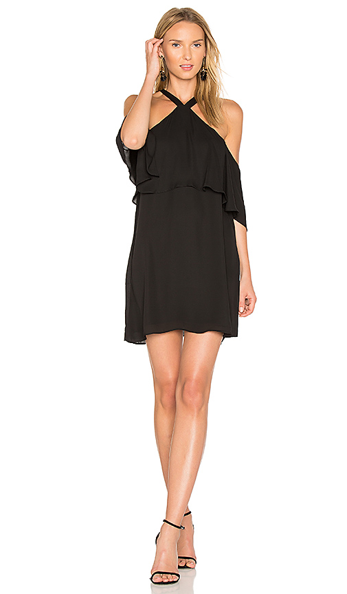 krisa Off Shoulder Halter Dress in Black