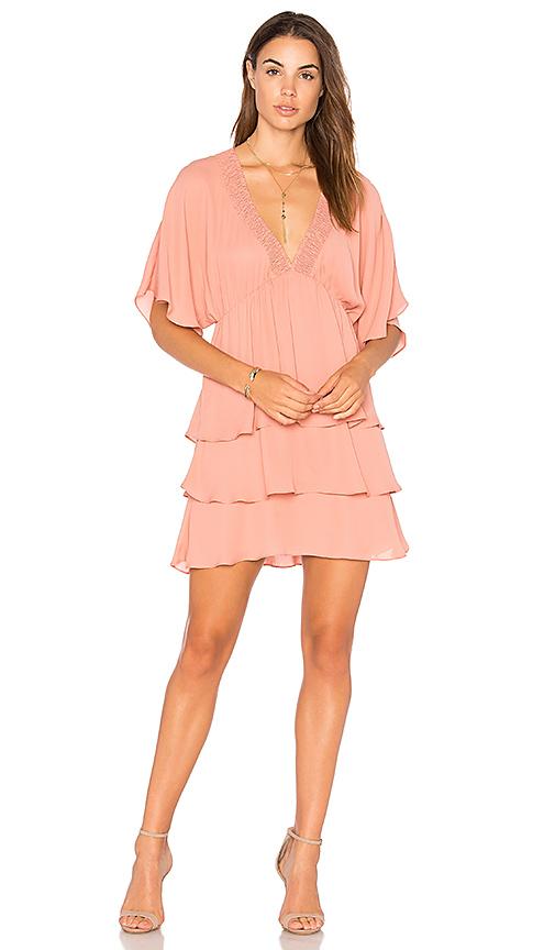 krisa Smocked V Layered Dress in Rose
