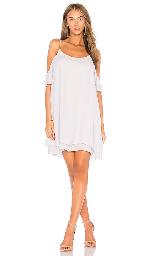 krisa Cold Shoulder Ruffle Mini Dress in Lavender
