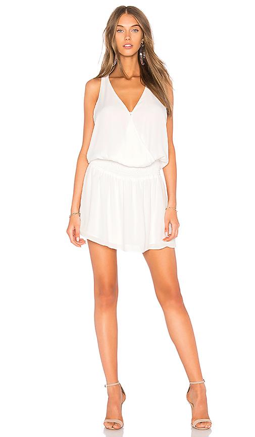 krisa Smocked Surplice Mini Dress in White