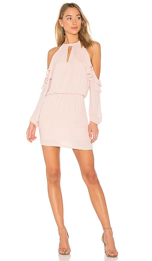 krisa Ruffle Shoulder Dress in Pink