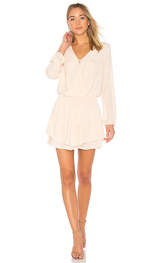 krisa Smocked Surplice Dress in Cream
