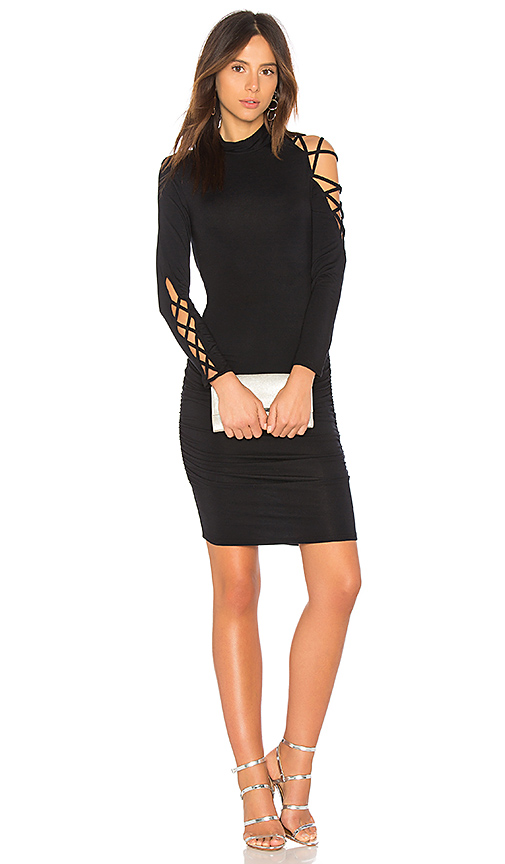 krisa Lace Up Dress in Black
